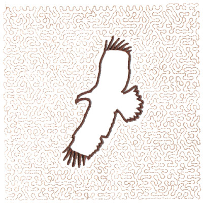 "Embroidery Design: Hawk Outline Quilt Square (Medium Stipple)5.98"" x 5.97"""