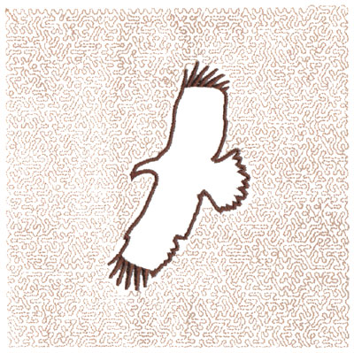 "Embroidery Design: Hawk Outline Quilt Square (Small Stipple)5.98"" x 5.99"""