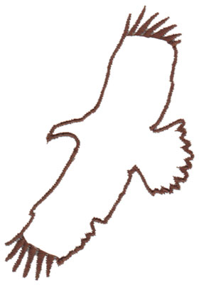 "Embroidery Design: Hawk Outline2.51"" x 3.98"""
