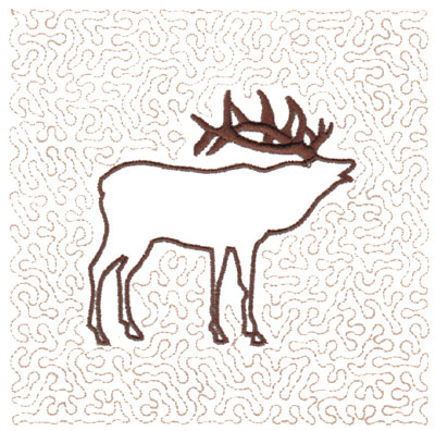 "Embroidery Design: Elk Quilt Square (Large Stipple)5.94"" x 5.96"""