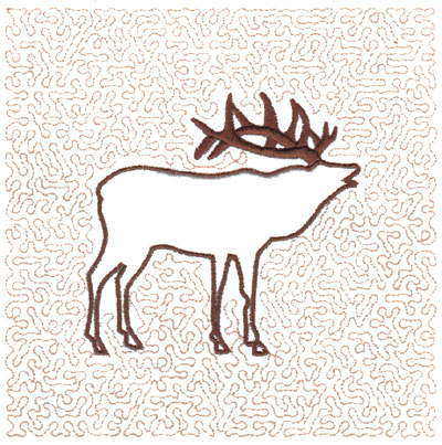 "Embroidery Design: Elk Quilt Square (Medium Stipple)5.95"" x 5.98"""