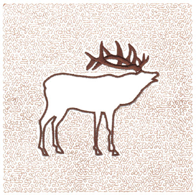 "Embroidery Design: Elk Quilt Square (Small Stipple)5.97"" x 5.98"""
