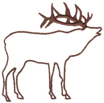 """Embroidery Design: Elk Outline3.68"""" x 3.84"""""""