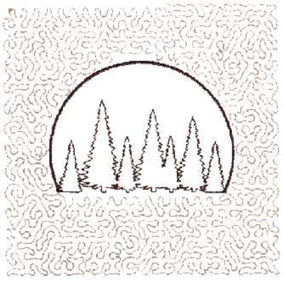 """Embroidery Design: Tree Scene Quilt Square (Large Stipple)5.97"""" x 5.94"""""""