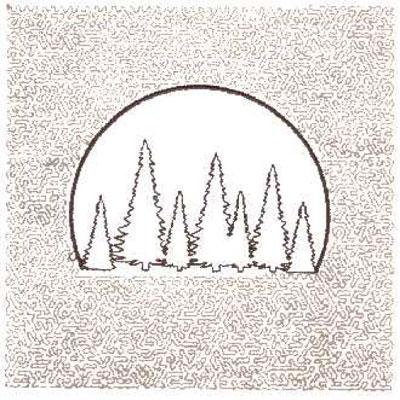 "Embroidery Design: Tree Scene Quilt Square (Small Stipple)5.98"" x 5.98"""