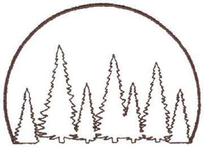 "Embroidery Design: Tree Scene Outline4.06"" x 2.88"""