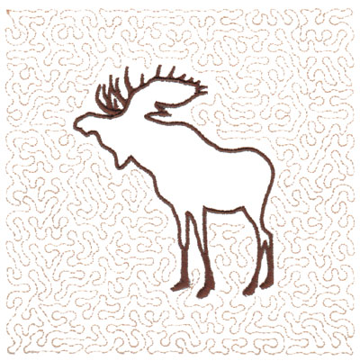 "Embroidery Design: Moose Quilt Square (Large Stipple)5.97"" x 5.94"""