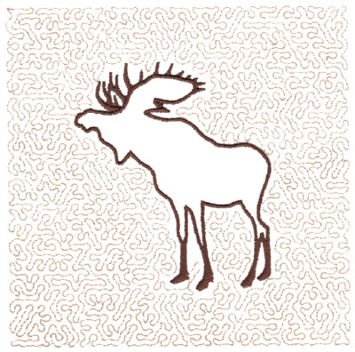 "Embroidery Design: Moose Quilt Square (Medium Stipple)5.98"" x 5.95"""