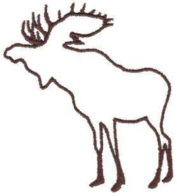 """Embroidery Design: Moose Outline3.45"""" x 4.00"""""""