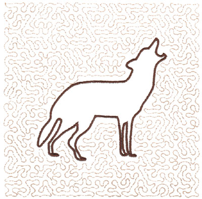 "Embroidery Design: Wolf Quilt Square (Large Stipple)<br>5.97"" x 5.95"""