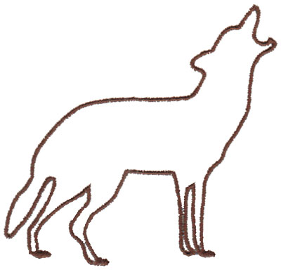 """Embroidery Design: Wolf Outline3.99"""" x 3.80"""""""