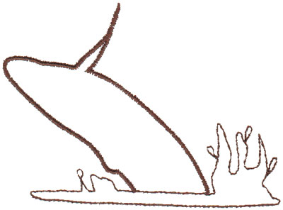 """Embroidery Design: Whale Outline3.99"""" x 2.88"""""""