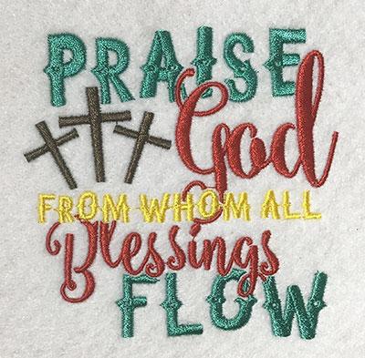 Embroidery Design: Praise God Lg 4.36w X 4.32h