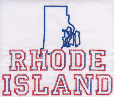 """Embroidery Design: Rhode Island Outline and Name6.57"""" x 8.02"""""""