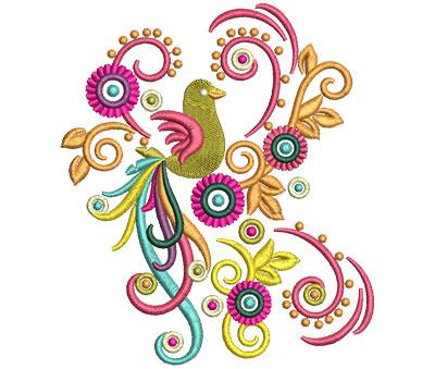 Embroidery Design: Retro Art Bird Swirls 4.76w X 5.47h