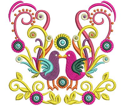 Embroidery Design: Retro Art Two Bird Swirls 4.67w X 4.51h