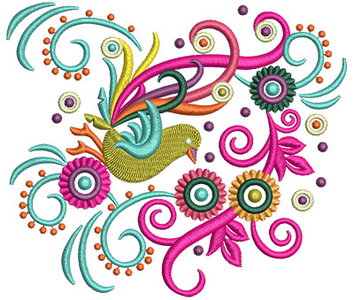 Embroidery Design: Retro Art Bird Sideways  5.02w X 4.33h