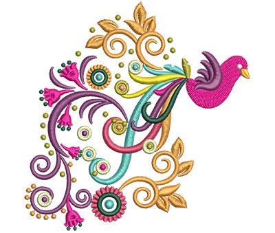 Embroidery Design: Retro Art Bird Swirl Tail 4.71w X 4.77h