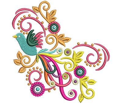 Embroidery Design: Retro Art Flying Bird Swirls 4.52w X 4.68h