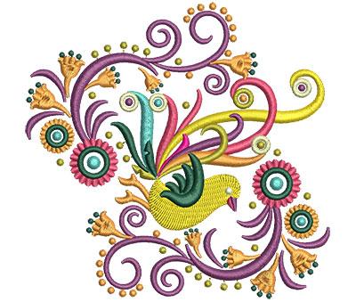 Embroidery Design: Retro Art Bird Swirls 2 4.64w X 4.51h
