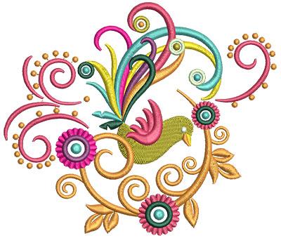 Embroidery Design: Retro Art Bird Swirls 3 5.57w X 4.76h
