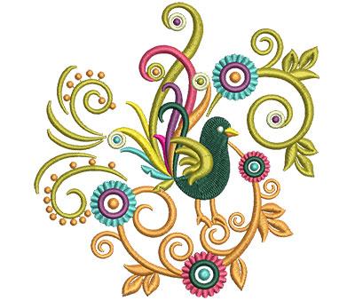Embroidery Design: Retro Art Bird Swirls 4 4.83w X 5.00h