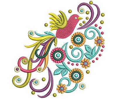 Embroidery Design: Retro Art Flying Bird Swirls 2 4.77w X 5.01h