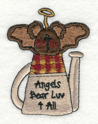 "Embroidery Design: Angels Bear Luv 4 All2.25"" x 2.98"""