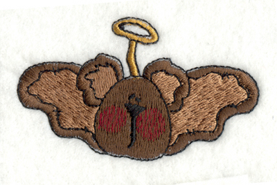 "Embroidery Design: Angel Bear with Wings3.00"" x 1.77"""