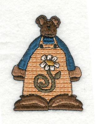 "Embroidery Design: Bear Man with Flower Overalls1.93"" x 2.66"""