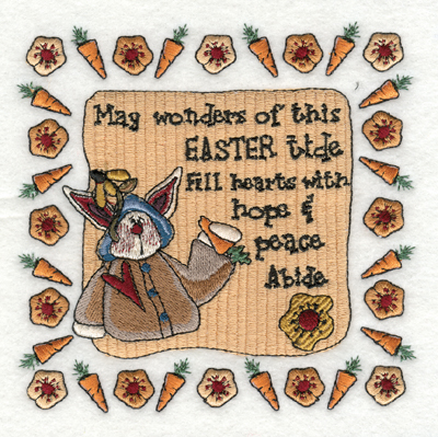 "Embroidery Design: Easter tide fill Hearts with Hope & Peace5.21"" x 5.11"""