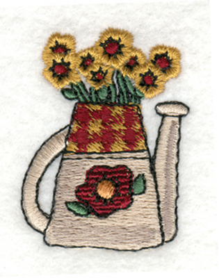 "Embroidery Design: Watering Can with Flowers1.43"" x 1.85"""
