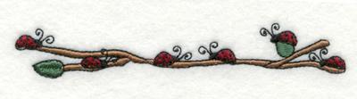 "Embroidery Design: Ladybugs on Vine4.98"" x 1.02"""