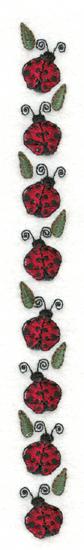 "Embroidery Design: Ladybug Border0.76"" x 8.01"""