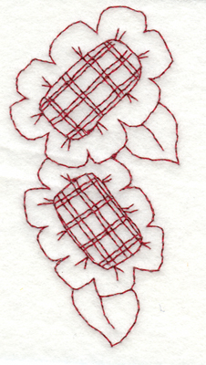 """Embroidery Design: Snickerdoodle Two Flowers1.93"""" x 3.89"""""""