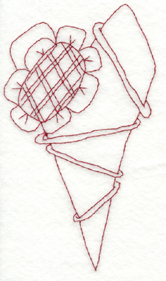 "Embroidery Design: Snickerdoodle Country Heart With Flower (large)3.28"" x 5.88"""