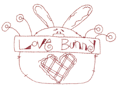 "Embroidery Design: Snickerdoodle Love Bunny (large)5.80"" x 4.05"""