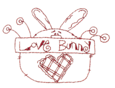 "Embroidery Design: Snickerdoodle Love Bunny3.80"" x 2.65"""