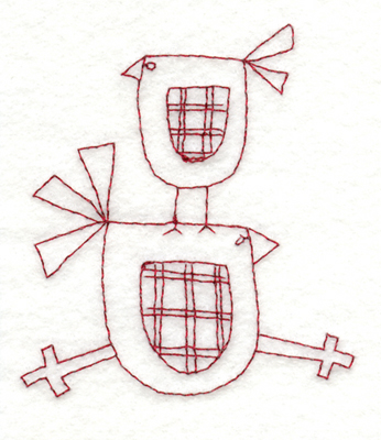 """Embroidery Design: Snickerdoodle Two Birds3.19"""" x 3.68"""""""