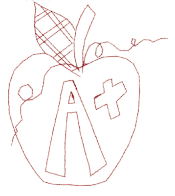 "Embroidery Design: Apple A+ (large)4.88"" x 5.67"""