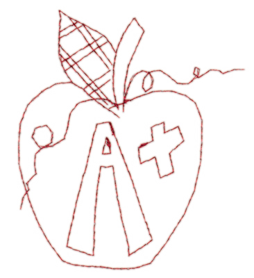 "Embroidery Design: Apple A+3.25"" x 3.78"""