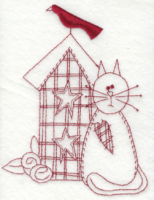 """Embroidery Design: Cat and Birdhouse (large)4.50"""" x 5.94"""""""