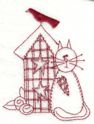 """Embroidery Design: Cat and Birdhouse2.98"""" x 3.94"""""""