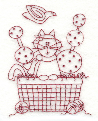 "Embroidery Design: Easter Kitty2.97"" x 4.00"""