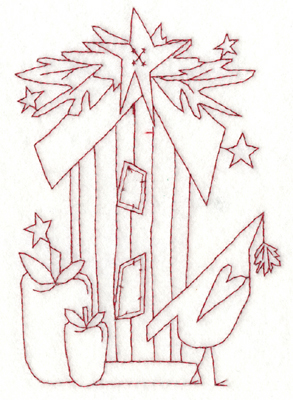 """Embroidery Design: Snickerdoodle Birdhouse With Bird (large)4.18"""" x 5.93"""""""