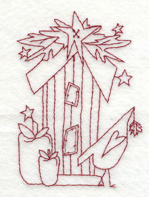 """Embroidery Design: Snickerdoodle Birdhouse With Bird2.77"""" x 3.93"""""""