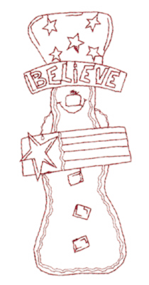 """Embroidery Design: Snickerdoodle Believe (large)2.46"""" x 5.85"""""""
