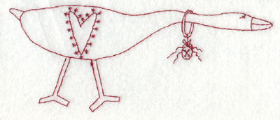 """Embroidery Design: Goose of Love (large)5.99"""" x 2.42"""""""
