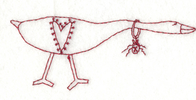 """Embroidery Design: Goose of Love3.99"""" x 1.61"""""""