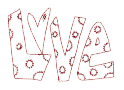 "Embroidery Design: Snickerdoodle Love3.80"" x 2.63"""